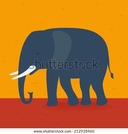 Elephant walking in the field - stock vector