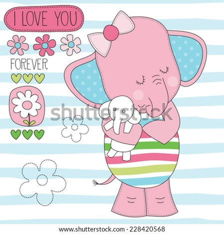 elephant with baby jumbo vector illustration - stock vector
