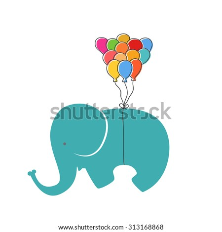 Elephant with balloon - stock vector