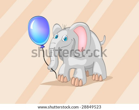 elephant with blue ball on striped background - stock vector