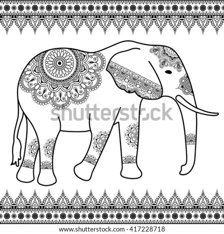 Elephant with border elements in ethnic mehndi indian style. Vector black and white illustration isolated on white background - stock vector