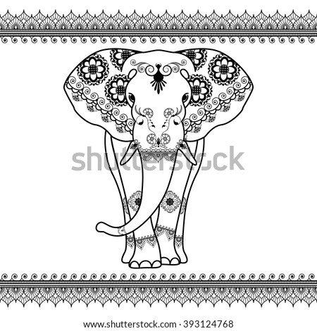 Elephant with border elements in ethnic mehndi style. Vector black and white frontal elephant's illustration isolated on white background - stock vector