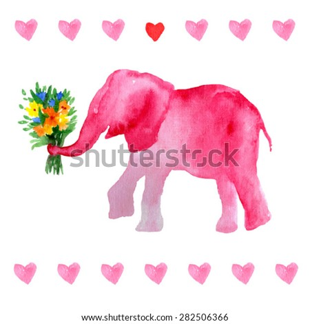 elephant with flowers romantic pink elephant valentines postcard sweet animals watercolor elephant - Elephant Valentine