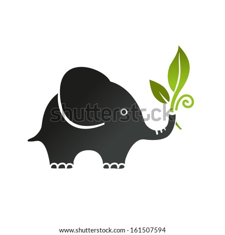Elephant with green leaf - stock vector