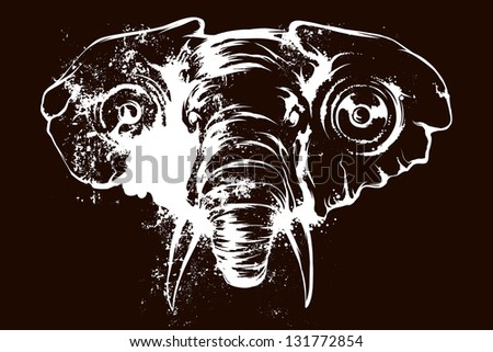 elephant with speakers in your ears negative - stock vector