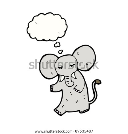 elephant with thought bubble cartoon