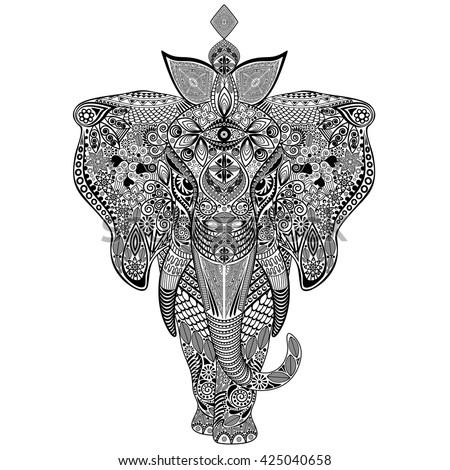 Elephant Zentangle Doodle Art  - stock vector