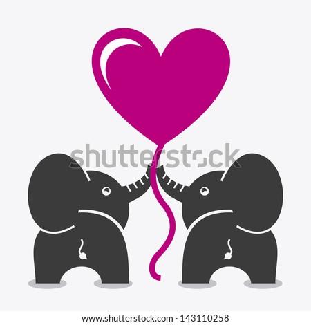 elephants design over white background vector illustration - stock vector