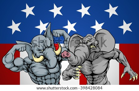 Elephants fighting, American politics election concept for party fighting or primaries, primary election of candidates