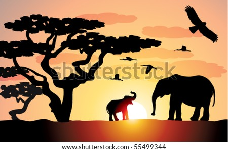 elephants in africa - stock vector
