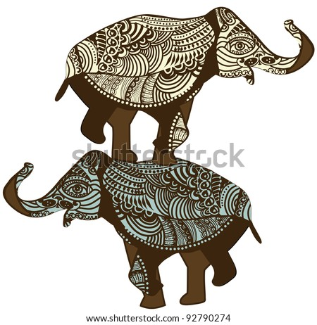 Elephants in the vintage style is a strong talisman for your life! - stock vector
