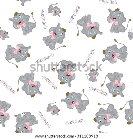 Elephants seamless pattern for kids - stock vector