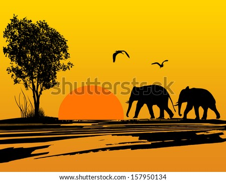 Elephants silhouette in africa at beautiful sunset, vector illustration - stock vector