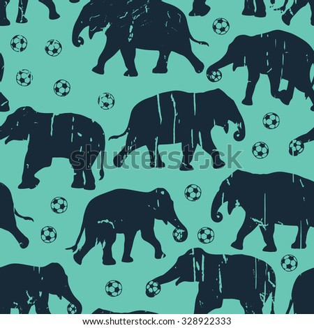 Elephants with balls. Vector seamless pattern