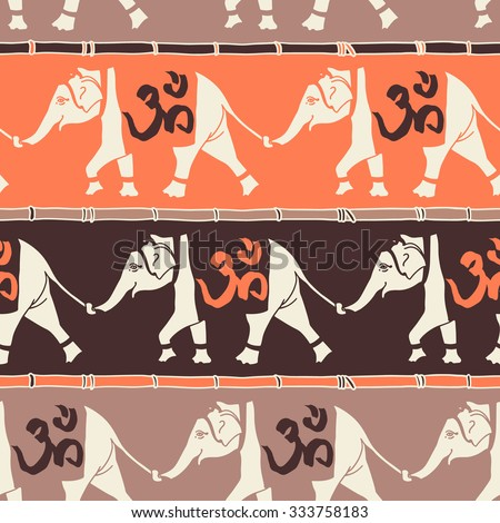 Elephants Om Religious Symbol Seamless Pattern Stock Vector