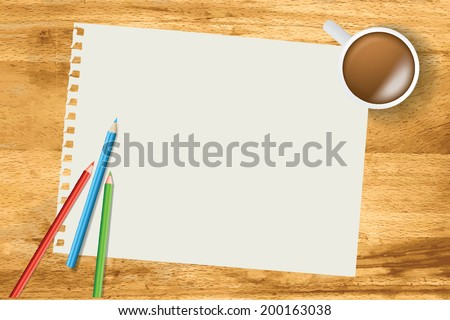elevated view looking down from above on a desk with a white blank sheet of paper - stock vector
