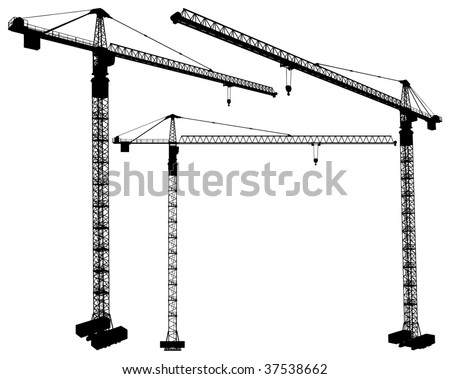 Elevating Construction Crane Vector 03 - stock vector
