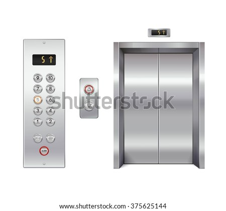 Elevator design set with closed doors and button panel isolated vector illustration - stock vector