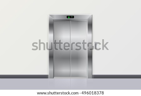 Elevator. Metal closed doors. Vector illustration