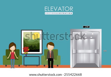 elevator, up, down, desing over, white blue background, vector illustration. - stock vector