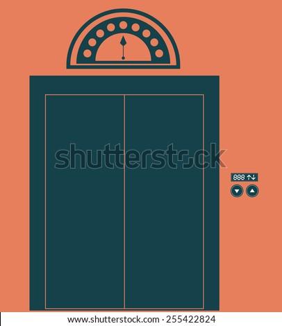 elevator, up, down, desing over, white ligth pink  background, vector illustration. - stock vector