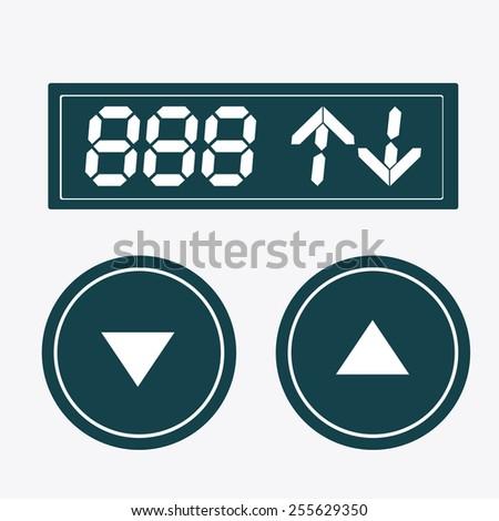 elevator, up, down, desing over, white white background, vector illustration. - stock vector