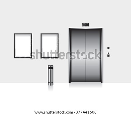 Elevator with closed door illustration