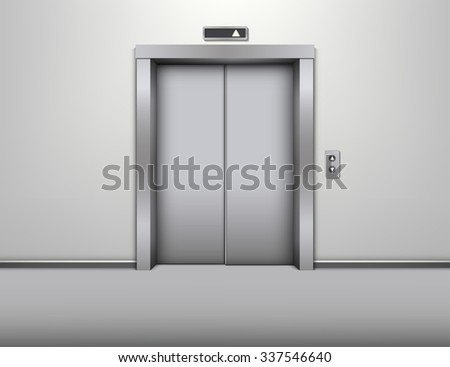 elevator with closed door vector illustration - stock vector