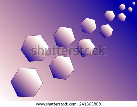 Eleven blue and purple hexagons (polyhedra) increase diagonally. - stock vector