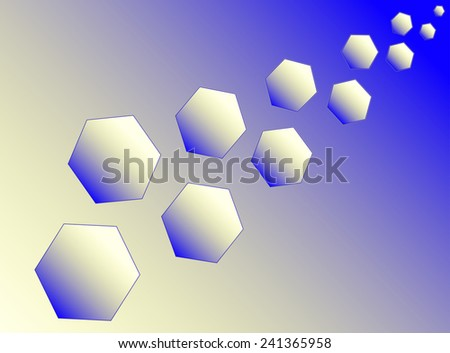 Eleven blue and yellow hexagons (polyhedra) increase diagonally. - stock vector