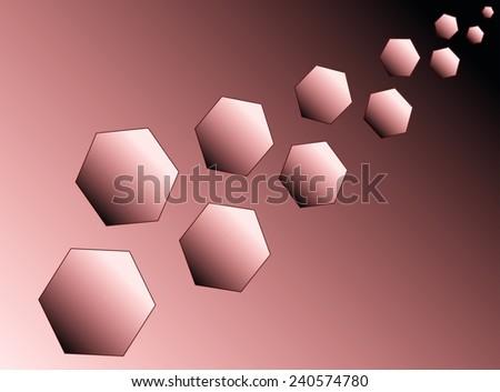 Eleven red hexagons (polyhedra) increase diagonally. - stock vector