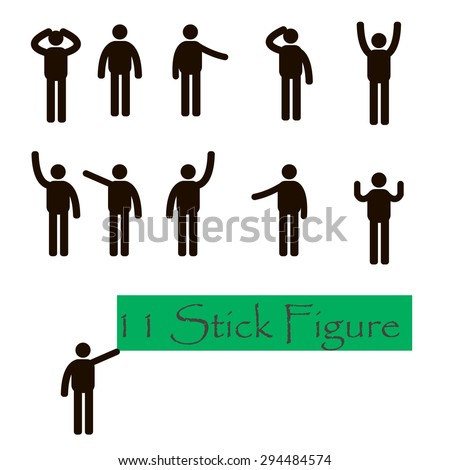 Eleven Stick Figure. People Person Basic Body Language Posture Stick Figure Pictogram Icon - stock vector