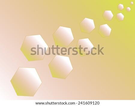 Eleven yellow hexagons (polyhedra) increase diagonally. - stock vector