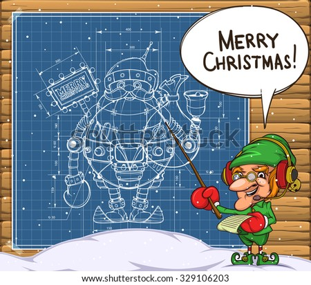 Elf and the scheme of the robot santa on the wall