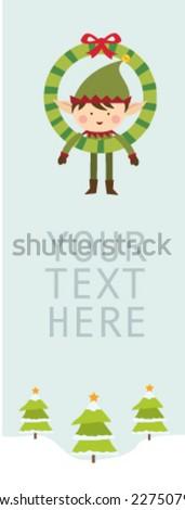 Elf greeting card - stock vector