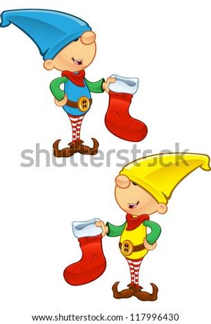 Elf Mascot - Holding Stocking - stock vector