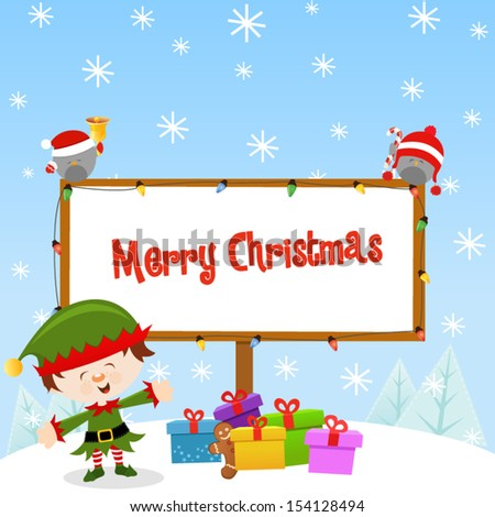 Elf With Christmas Sign - stock vector