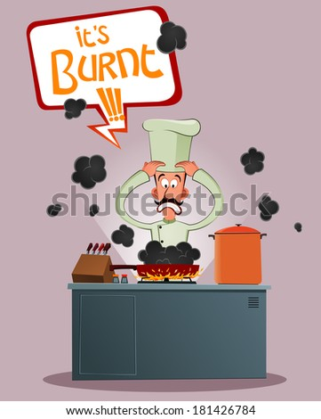 elite chef get stressed because of his food has burnt - stock vector