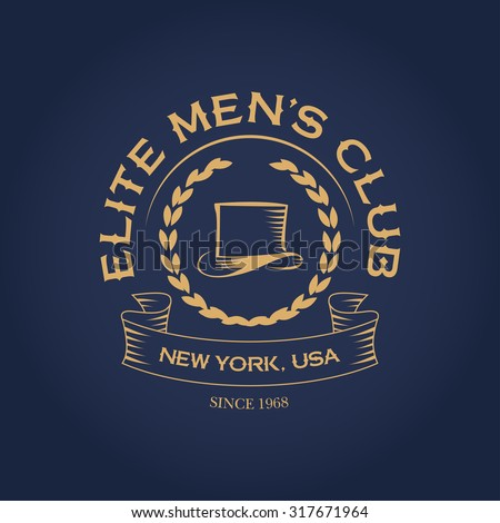 Elite men's club apparel vintage t shirt fashion design, logotype template, men's hat graphic, typographic art. Wall Decor. - stock vector