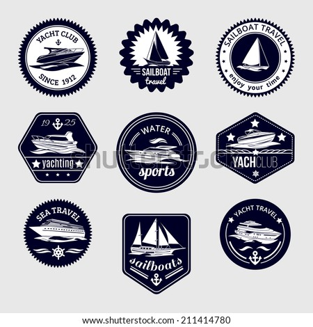 Elite world water sport yacht club sailboat sea travel design labels set black icons isolated vector illustration - stock vector