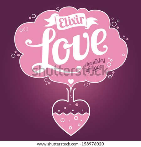 Elixir of Love background. Valentine's Day card - stock vector