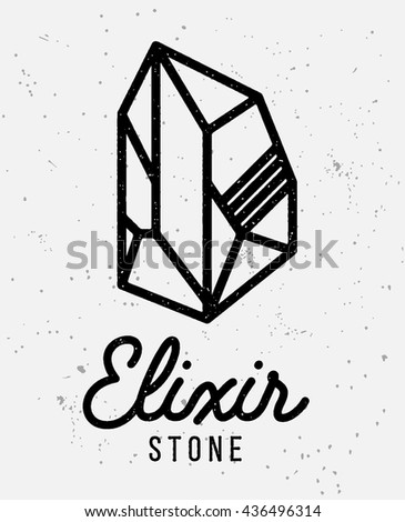 Elixir stone logo. Vector symbol of magic elixir. Textured logotype sing on white background. Great for t-shirt print design or poster.