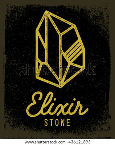 Elixir stone logo. Vector symbol of magic elixir. Textured sing on black background. Great for t-shirt print design or poster.