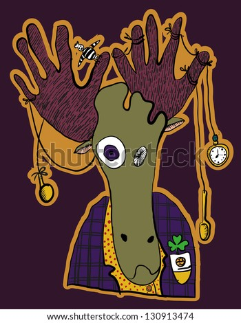 elk vector crazy hipster with different objects in the horns - stock vector