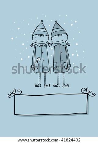 Elves Greeting - stock vector