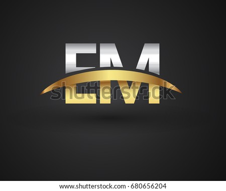 EM initial logo company name colored gold and silver swoosh design. vector logo for business and company identity.