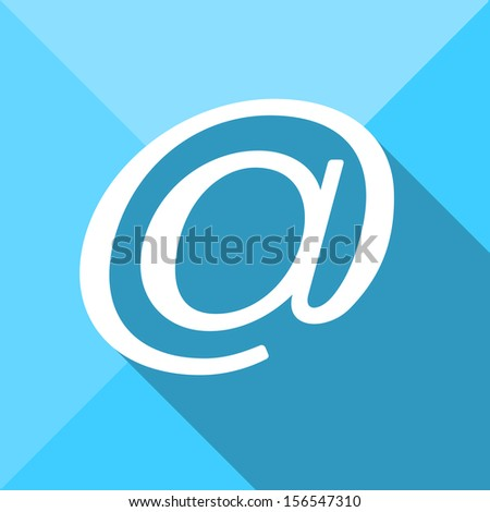 Email / At sign / Arroba symbol flat icon long shadow - stock vector