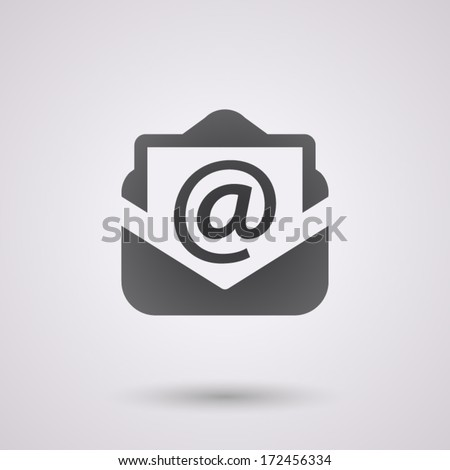 email black icon with shadow. technology background - stock vector