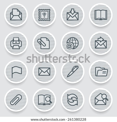 Email black icons on gray stickers. - stock vector