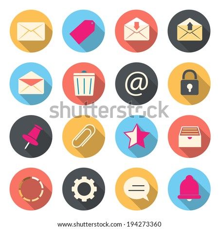 Email color icons - stock vector